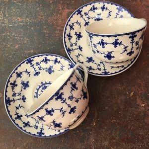 Vintage Blue Delft Teacups
